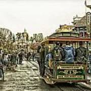 Trolley Car Main Street Disneyland Antique Poster