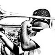 Trombone Man Bw Poster