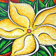 Tropical Abstract Pop Art Original Plumeria Flower Painting Pop Art Tropical Passion By Madart Poster