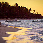 Tropical Beach At Sunset Poster by Elena Elisseeva