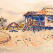 Tropical  Beach Hut Poster