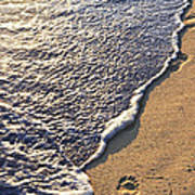 Tropical Beach With Footprints Poster