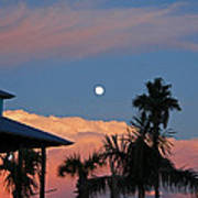 Tropical Sunset With The Moon Rise Poster