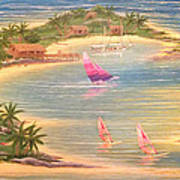 Tropical Windy Island Paradise Poster