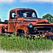 Truck In The Grass Poster