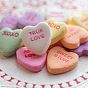 True Love Valentine Candy Hearts Poster