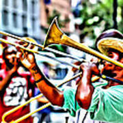 Trumpeter In The Street Poster