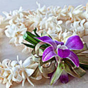 Tuberose Lei With Purple Orchid And Ribbon Poster
