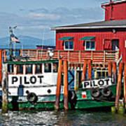 Tug Boat Pilot Docked On Waterfront Art Prints Poster