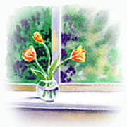 Tulips On The Window Poster