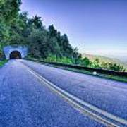 Tunnel Through Mountains On Blue Ridge Parkway In The Morning Poster