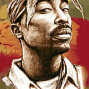 Tupac Shakur Stylised Drawing Art Poster Poster