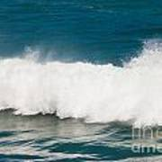 Turbulent Water Of Breaking Ocean Wave And Spray Poster