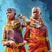 Young Turkana Girls Poster
