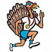 Turkey Run Runner Thumb Up Cartoon Poster by Aloysius Patrimonio
