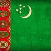 Turkmenistan Flag Vintage Distressed Finish Poster