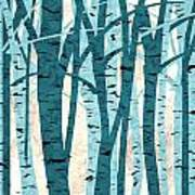 Turquoise Birch Trees Poster