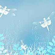 Turquoise Dragonfly Art Poster