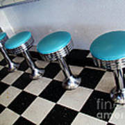Turquoise Stools Poster