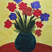 Turquoise Vase On Yellow Poster