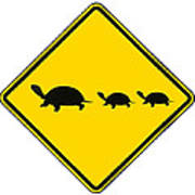 Turtle Crossing Sign Poster