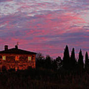 Tuscan Farmhouse And Morning Glow Poster
