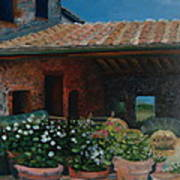 Tuscan Flower Pots Poster