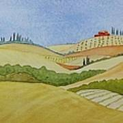 Tuscan Hillside Two Poster by Mary Ellen Mueller Legault