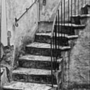 Tuscan Staircase Bw Poster
