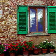 Tuscany - Flower Pots In Chianti Poster