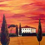Tuscany In Red Poster