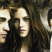 Twilight  Kristen Stewart And Robert Pattinson Artwork 1 Poster