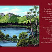 Twin Ponds And 23 Psalm On Red Horizontal  Poster