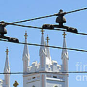 Twin Spires And Trolley Lines Poster
