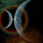 Two Alien Planets In A Distant Part Poster