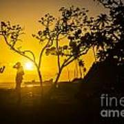 Two Boys Silhouette In Spectacular Golden Sunset  Poster