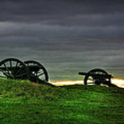 Two Cannons At Gettysburg Poster by Bill Cannon