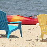 Two Chairs And A Boat Poster