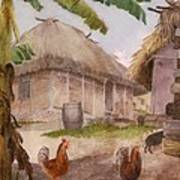 Two Chickens Two Pigs And Huts Jamaica Poster