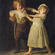 Two Children Fighting Over A Piece Of Bread Poster