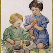 Two Children Play With Chicks Poster