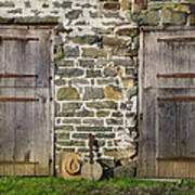 Two Doors On A Barn Poster