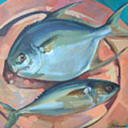 Two Fish On A Copper Platter Poster
