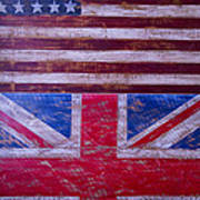 Two Flags American And British Poster