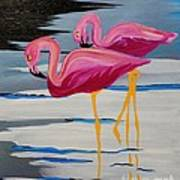 Two Flamingo's In Acrylic Poster