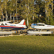 Two Float Planes On Moosehead Lake Near Greenville Maine  Poster