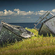 Two Forlorn Abandoned Boats On Prince Edward Island Poster