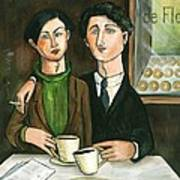 Two Gay Men In A Paris Cafe Poster