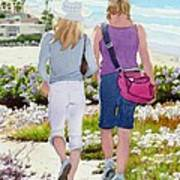 Two Girls At Dog Beach Del Mar Poster