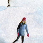 Two Girls Ice Skating Watercolor Painting Poster